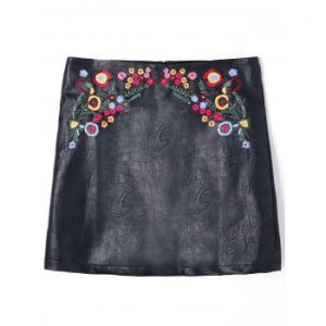 Embroidered PU Leather Skirt
