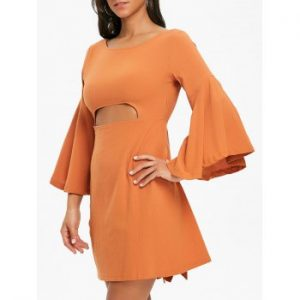 Bell Sleeve Bowknot Mini Dress
