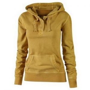 Solid Color Hooded Buttoned Pocket Pullover Hoodie