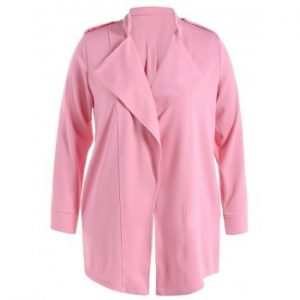 Stand Collar Draped Trench Coat