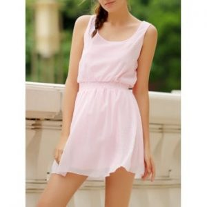 Square Neck Sleeveless Waist Drawstring Solid Color Dress