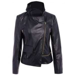 Turn Down Collar Long Sleeve PU Leather Jacket For Women