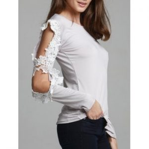 Stylish Scoop Neck Spliced Hollow Out T Shirt