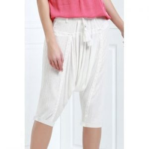 Drawstring Cropped Harem Pants