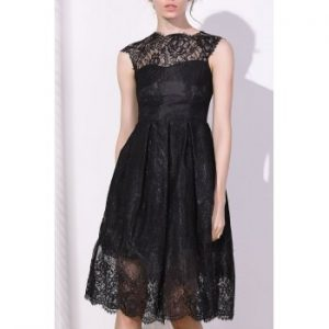 Round Collar Cap Sleeve Lace A Line Dress For Women