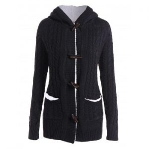 Solid Color Long Sleeve Hooded Cardigan For Women