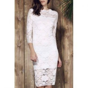 Lace Cut Out Over Hip 3 4 Sleeve Pure Color Dress