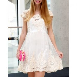 High Waist Square Neck Lace and Gauze Spliced Ball Gown Dress