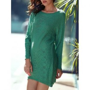 Scoop Neck Green Long Sleeve Dress For Women