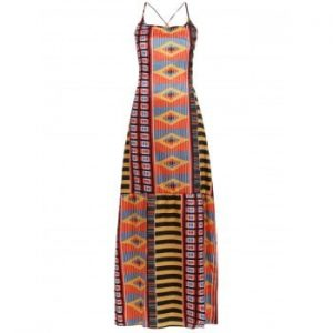 Open Back Ethnic Print Dress