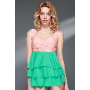 Ruffled Multi Layered Flouncing Backless Swimsuit