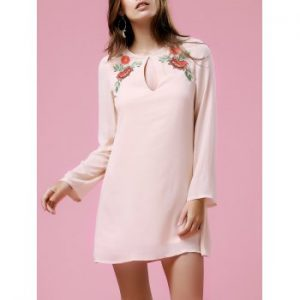 Casual Long Sleeve Round Neck Floral Embroidery Dress