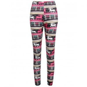 Elastic Waist Elk Print Workout Leggings