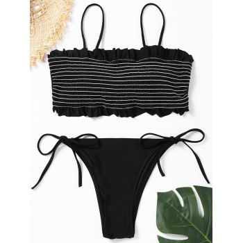Low Waisted Smocked Frill Trim Bikini Set