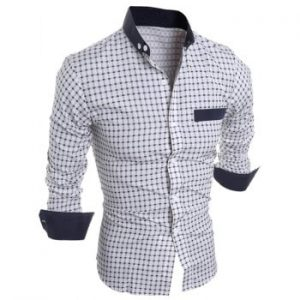 Long Sleeve Checked Button Down Shirt