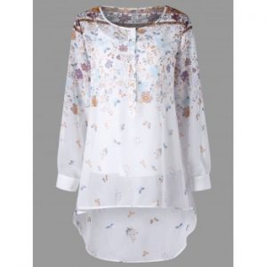 Tiny Floral Henley Blouse with Camisole