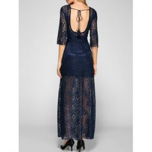 Open Back Maxi Lace Dress