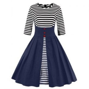Fit and Flare Stripe Midi Dress