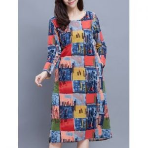 Round Neck Long Sleeve Plaid Print Ethnic Style Dress