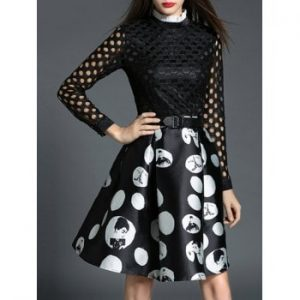 Cut Out Polka Dot Fit and Flare Dress