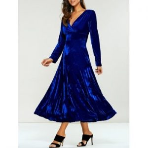 Empire Waist Velvet A Line Dress