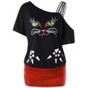 Cat Print Skew Collar Ruched T shirt