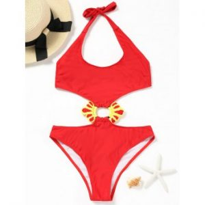 Embellished Halter Monokini One Piece Swimsuit