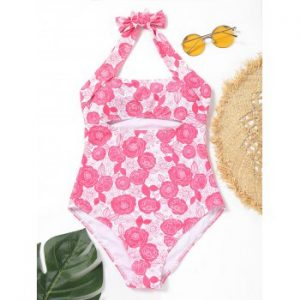 One Piece Halter Floral Swimsuit