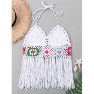 Fringed Crochet Swim Top