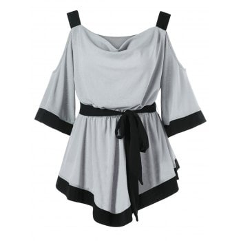 Contrast Color Belted Top