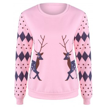 Rhombus and Deer Print Sweatshirt
