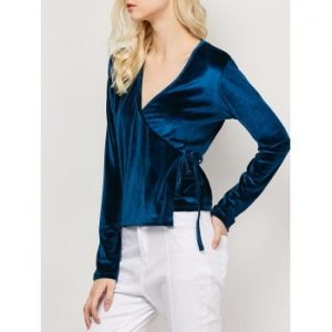 Long Sleeved Velvet Wrap Top