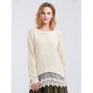 Lace Spliced Asymmetric Pullover Sweater