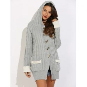 Horn Button Cable Knit Cardigan