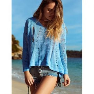 V Neck Hollow Out Crochet Cover Up