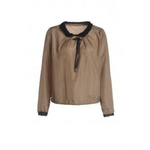 Double Lace With Belt Collar Polka Dot Deisgn Long Sleeves Blended Blouse