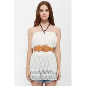 Graceful Style Strapless Mini Lace Dress For Women