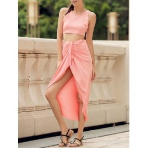 Round Neck Candy Color Crop Top and Irregular Skirt Two Piece Set For Women