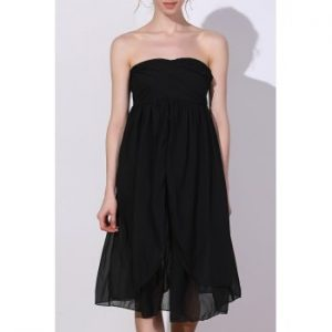 Strapless Solid Color Ruched Dress For Women