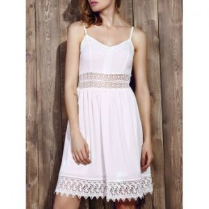 Strappy Lace Splicing Flare Dress For Women