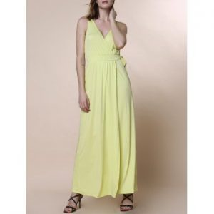 V Neck Sleeveless Waist Tied High Slit Maxi Dress