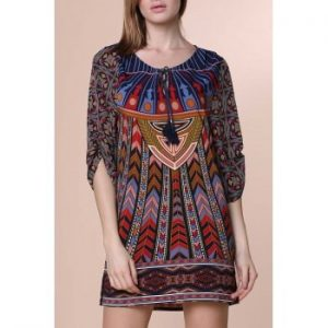 3 4 Sleeve Lace Up Ethnic Print V Neck Dress