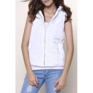 Hooded Sleeveless Zip Up Padded Waistcoat