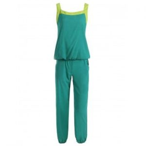 Scoop Neck Color Block Tank Top and Drawstring Chiffon Pants Suit For Women