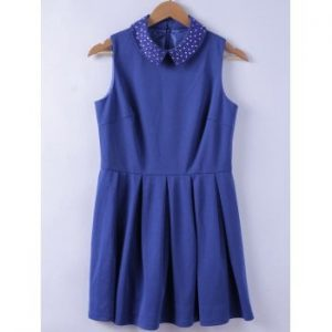 Studs Embellished Turn down Collar Blue  A line Dress