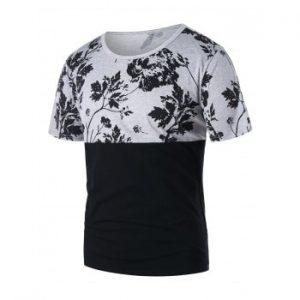 Contrast Color Flower Print Short Sleeve T shirt