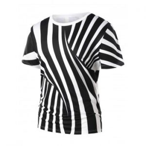 Cross Stripe Print Short Sleeve T shirt