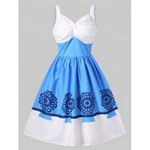 Print Ruched Vintage Pin Up Dress