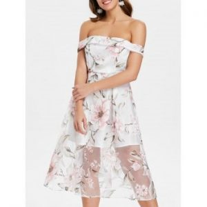 Floral Off Shoulder Fit and Flare Dress