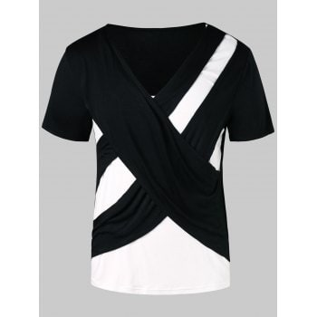 Cross Contrast Color V Neck T shirt